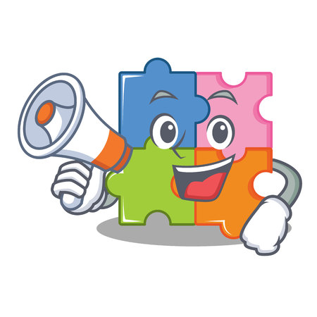 With megaphone puzzle character cartoon style vector illustration.