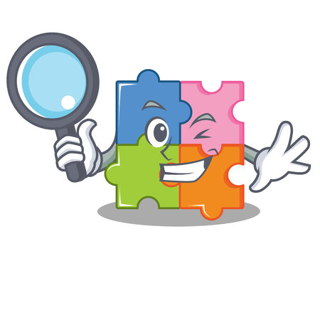 Detective puzzle character cartoon style vector illustration 일러스트