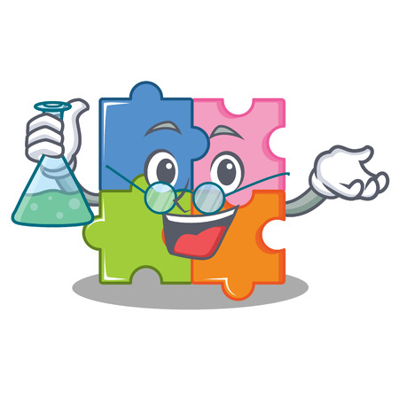 Professor puzzle character cartoon style vector illustration