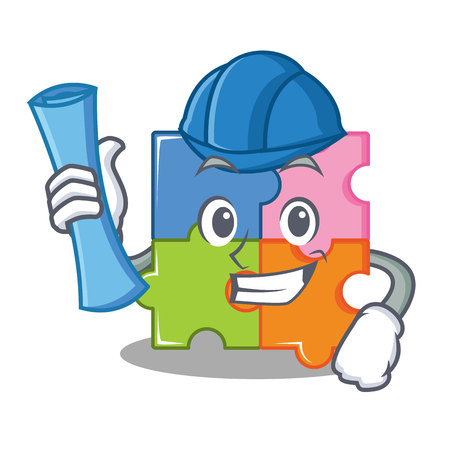 Architect puzzle character cartoon style vector illustration