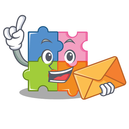 With envelope puzzle character cartoon style vector illustration Vettoriali