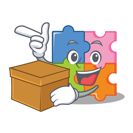 With box puzzle character cartoon style vector illustration Illustration