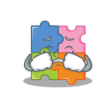 Crying puzzle mascot cartoon style vector illustration
