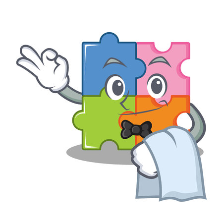Waiter puzzle mascot cartoon style vector illustration