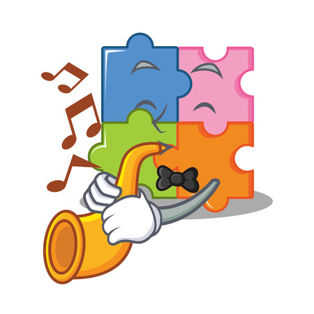 With trumpet puzzle mascot cartoon style vector illustration Vettoriali