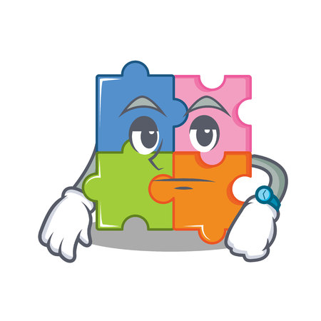 Waiting puzzle mascot cartoon style vector illustration Illustration