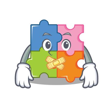 Silent puzzle mascot cartoon style vector illustration