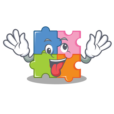 Crazy puzzle mascot cartoon style vector illustration Vectores