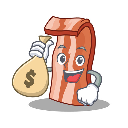 With money bag bacon character cartoon style vector illustration