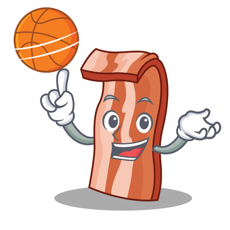 With basketball bacon character cartoon style vector illustration