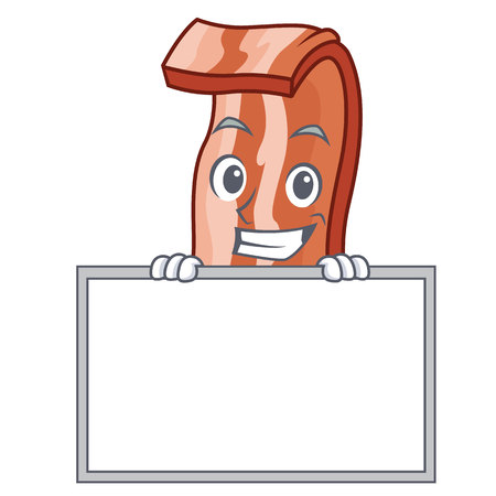 Grinning with board bacon character