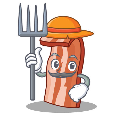 Farmer bacon character cartoon style vector illustration