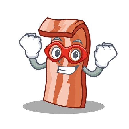 Super hero bacon character cartoon style vector illustration Illustration