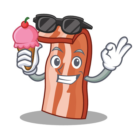 With ice cream bacon character cartoon style vector illustration