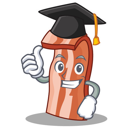 Graduation bacon character cartoon style vector illustration