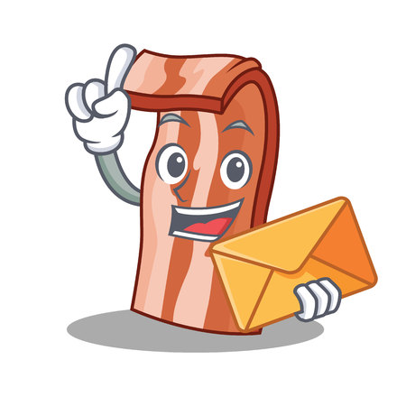 With envelope bacon character cartoon style vector illustration Illustration