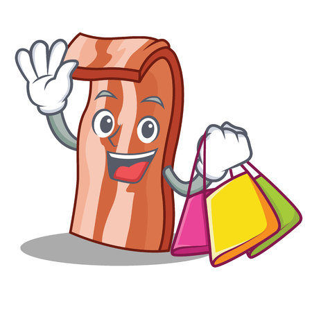Shopping bacon character cartoon style vector illustration Illustration