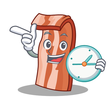 With clock bacon character cartoon style vector illustration Illustration