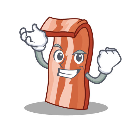 Successful bacon character cartoon style vector illustration Illustration