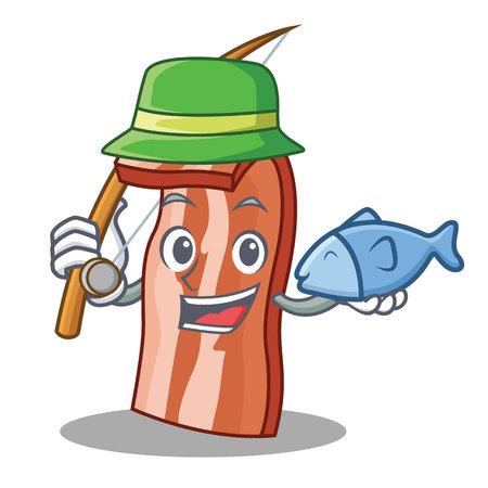 Fishing bacon mascot cartoon style vector illustration Illustration