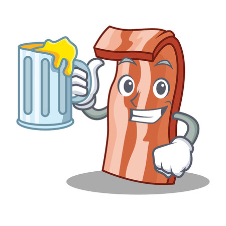 With juice bacon mascot cartoon style vector illustration Illustration