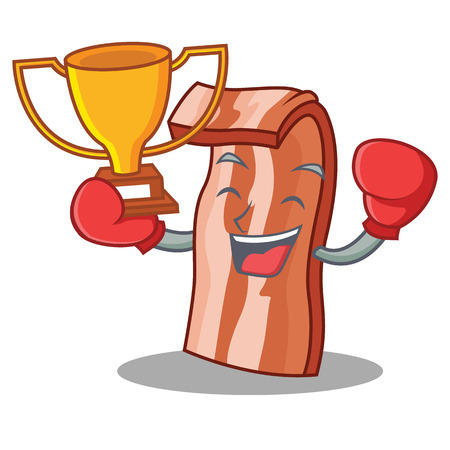 Boxing winner bacon character Illustration