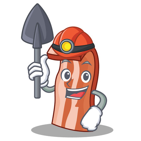 Miner bacon mascot cartoon style vector illustration