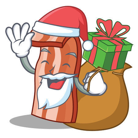 Santa with gift bacon mascot cartoon style vector illustration