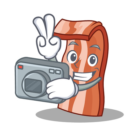 Photographer bacon mascot cartoon style vector illustration Illustration