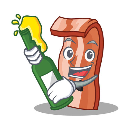 With beer bacon character Illustration