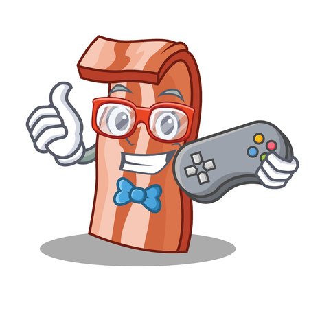 Gamer bacon mascot cartoon style vector illustration Illustration