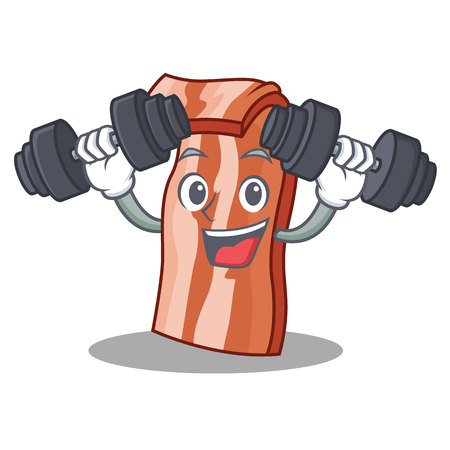 Fitness bacon character cartoon style vector illustration Illustration