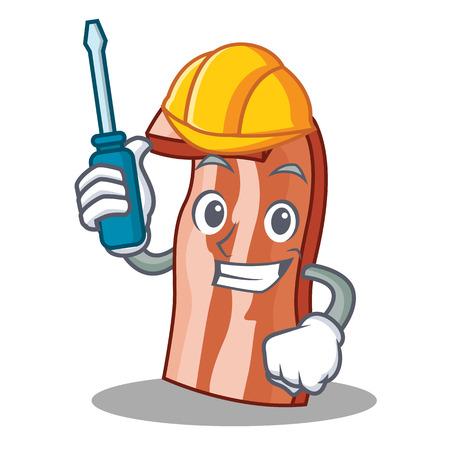 Automotive bacon mascot cartoon style