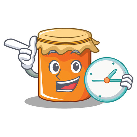 With clock jam character cartoon style vector illustration