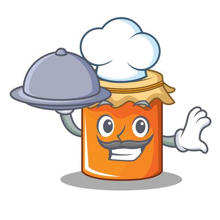Chef with food jam mascot cartoon style vector illustration Vettoriali