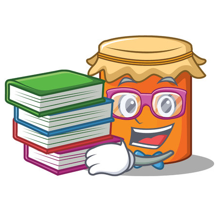 Student wiith book jam mascot cartoon style vector illustration
