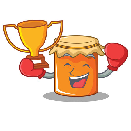 Boxing winner jam mascot cartoon style vector illustration Illustration