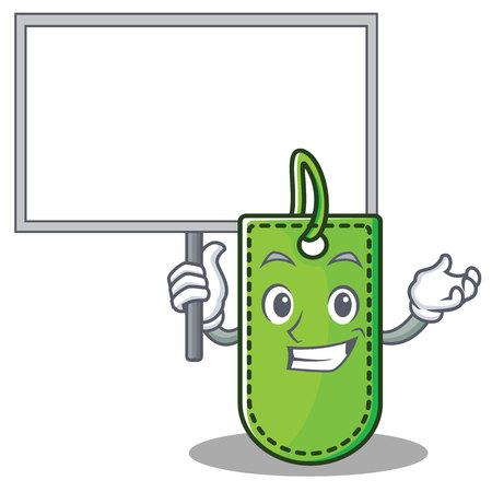 Bring board price tag character cartoon vector illustration