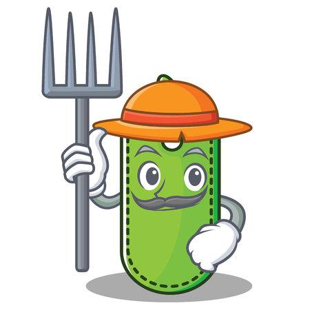 Farmer price tag character cartoon vector illustration