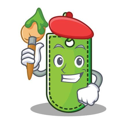 Artist price tag character cartoon vector illustration.
