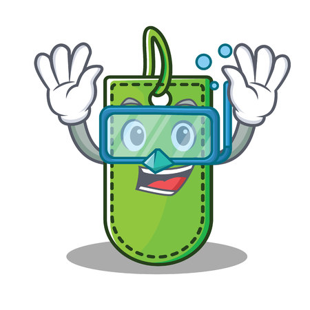 Diving price tag character cartoon vector illustration