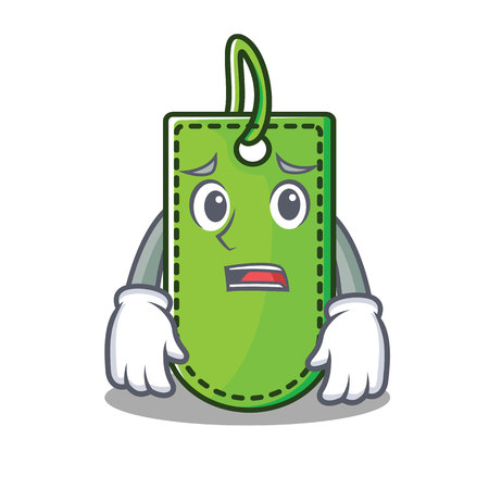 Afraid price tag mascot cartoon vector illustration Illustration
