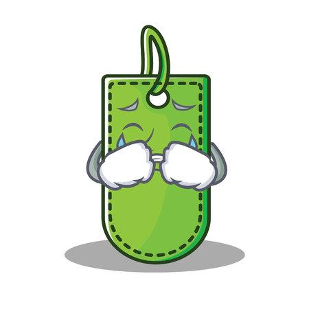 Crying price tag mascot cartoon vector illustration Illustration
