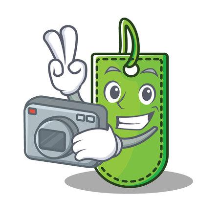 Photographer price tag mascot cartoon vector illustration.