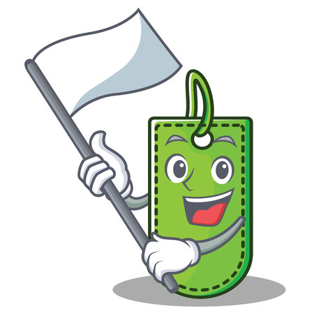 With flag price tag mascot cartoon vector illustration