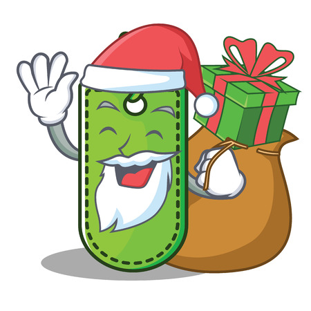 Santa with gift price tag mascot cartoon vector illustration. Illustration