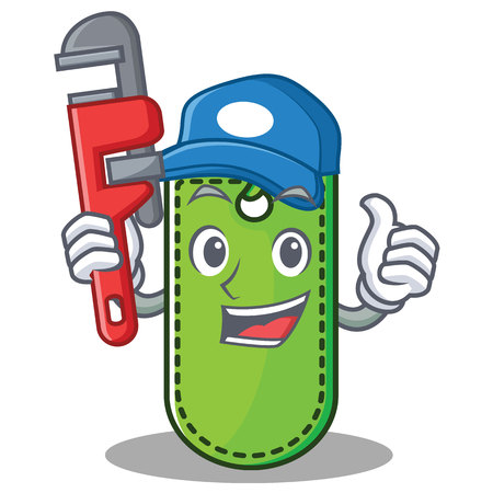 Plumber price tag mascot cartoon vector illustration.