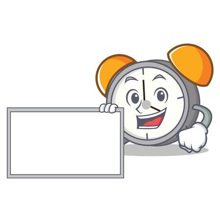 With board alarm clock character cartoon vector illustration Illustration