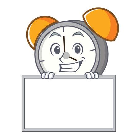 Grinning with board alarm clock character cartoon vector illustration