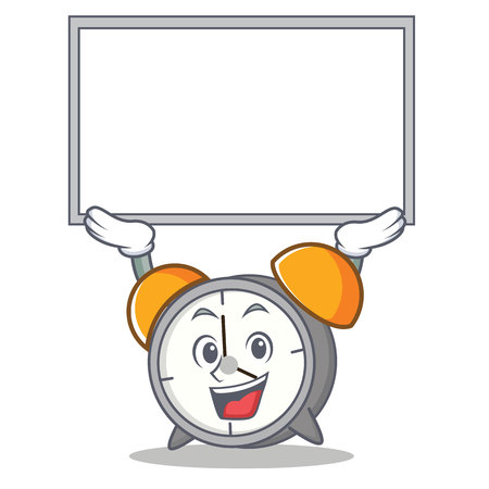 Holding a board up alarm clock character cartoon vector illustration Illustration